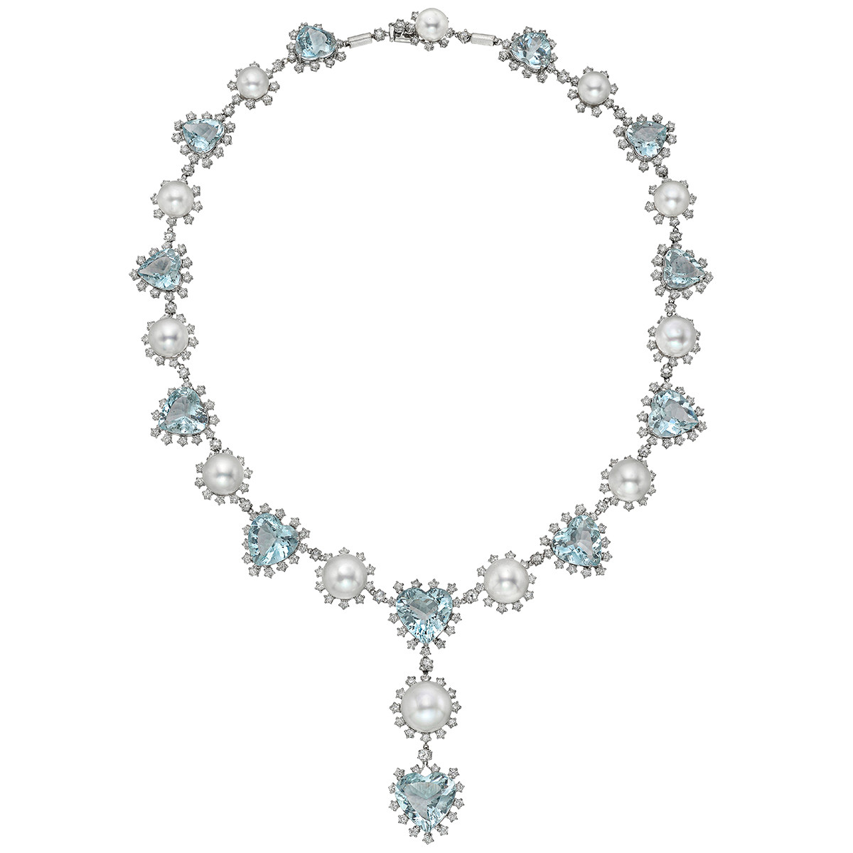 Aquamarine, Pearl & Diamond Bead Necklace