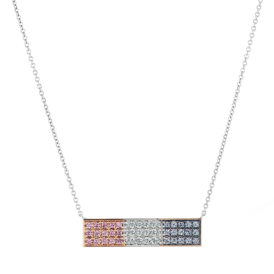 "Tricolored Diamond ""Star-Spangled"" Pendant Necklace"