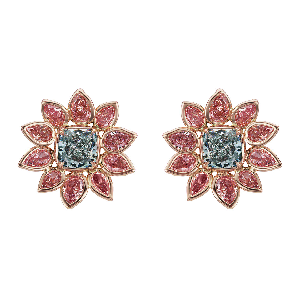 Green-Blue & Pink Diamond Flower Earrings