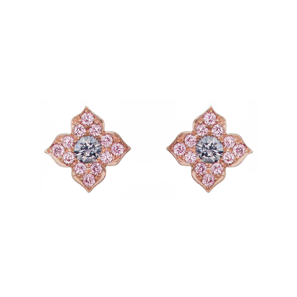 "Blue & Pink Diamond ""Azalea"" Stud Earrings"