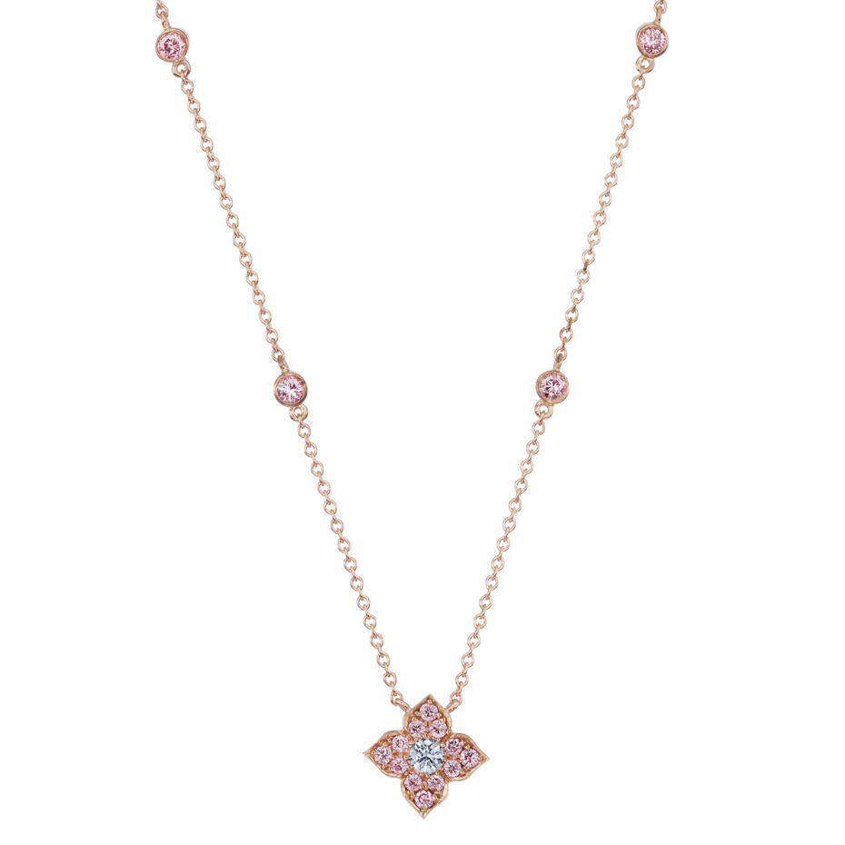 "Pink & Blue Diamond ""Azalea"" Pendant Necklace"
