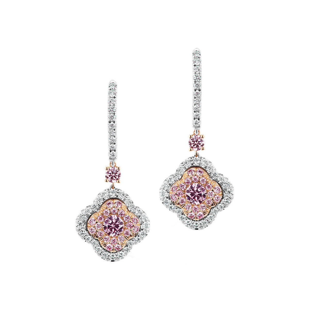 "Pink & White Diamond ""Azalea"" Drop Earrings"