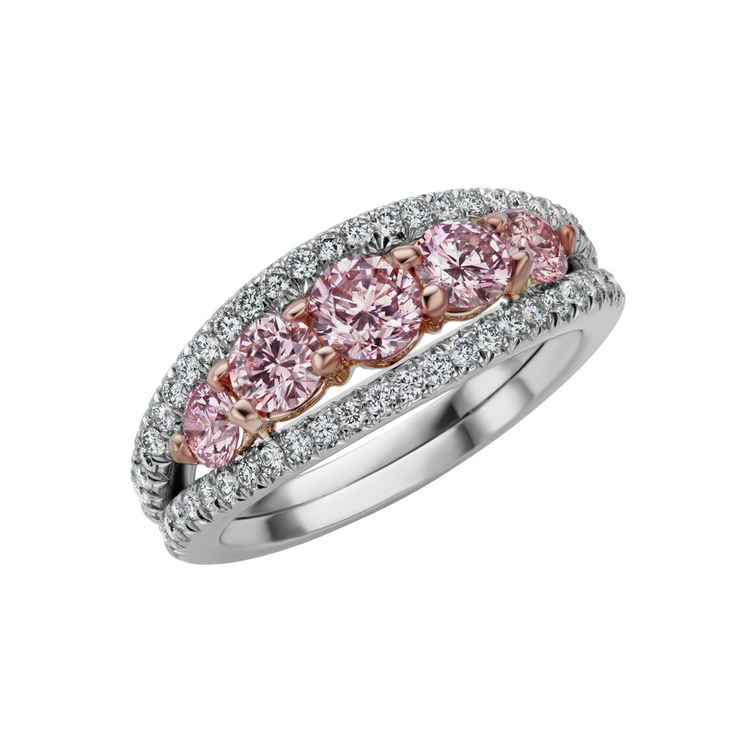 Pink & White Diamond 5-Stone Band Ring