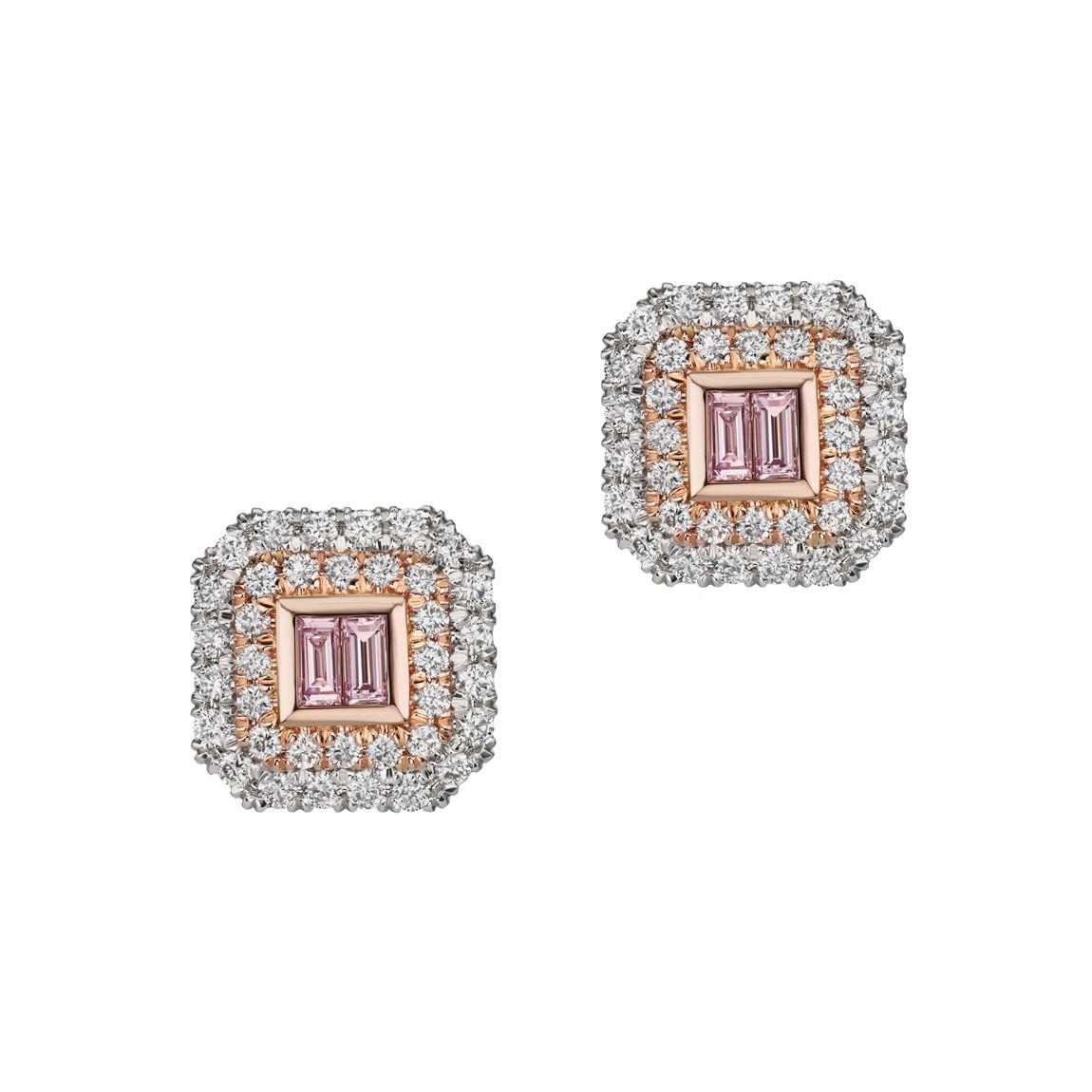 Pink & White Diamond Double Halo Stud Earrings