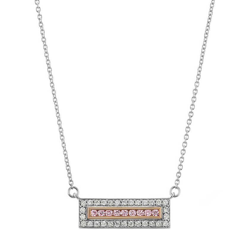 Pink & White Diamond Horizontal Bar Pendant