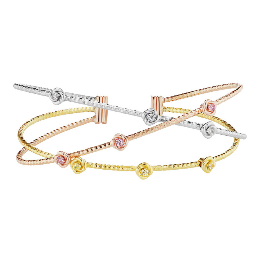 Pink, Yellow & White Diamond Cuff Bracelet