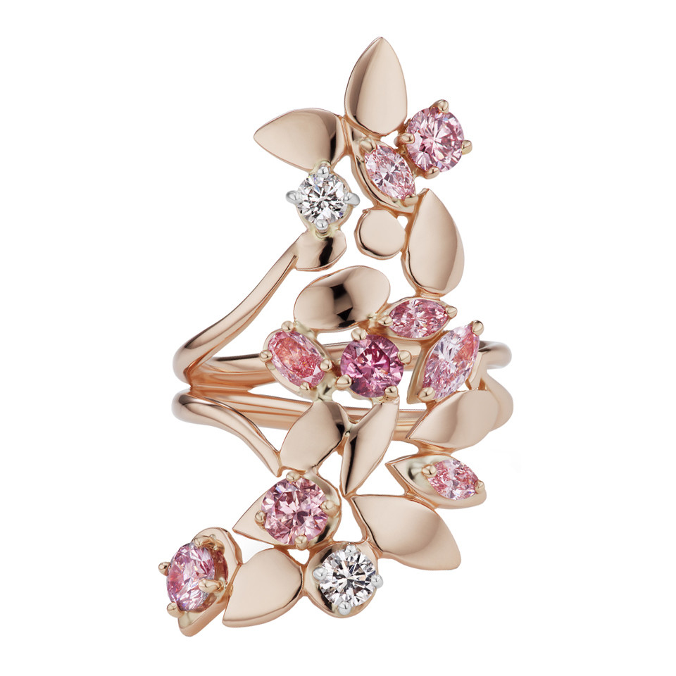 Multicolored Pink Diamond Floral Ring