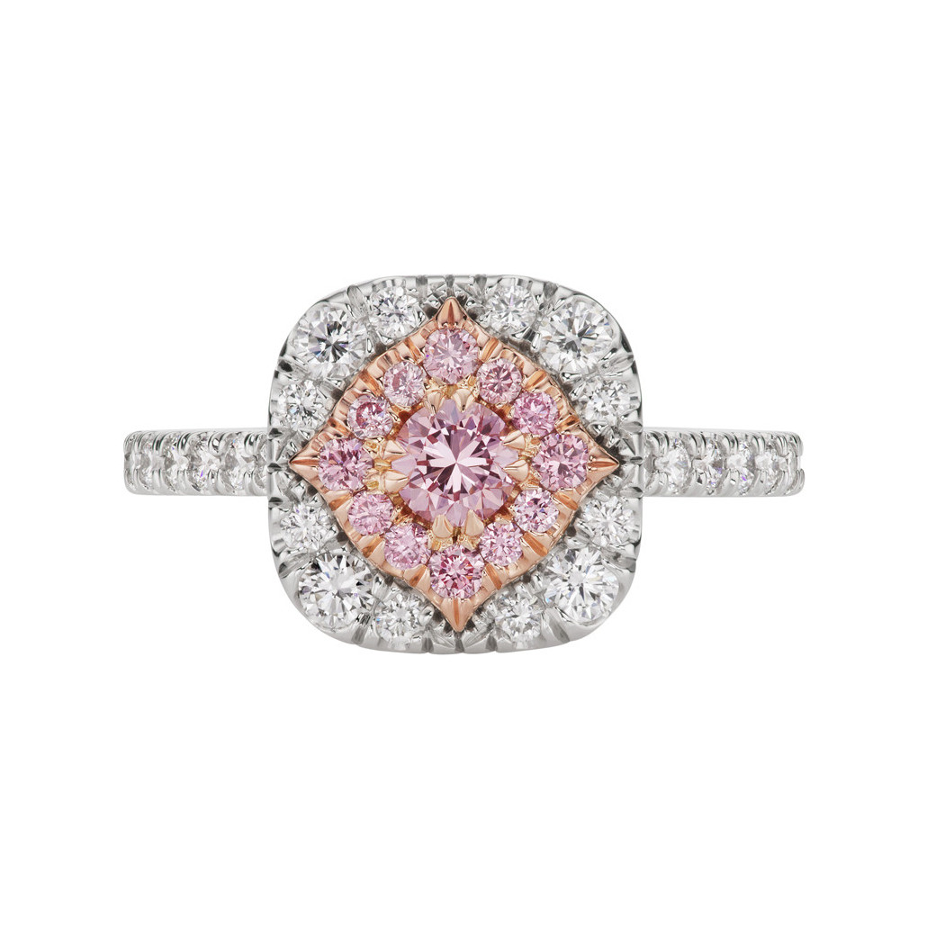 Pink & White Diamond Cluster Halo Ring
