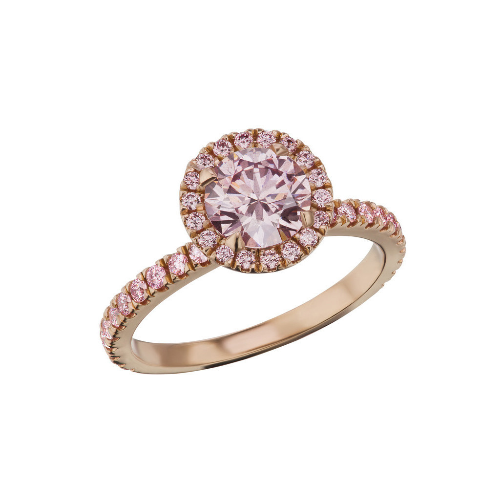 Argyle Pink Diamond Solitaire Halo Ring