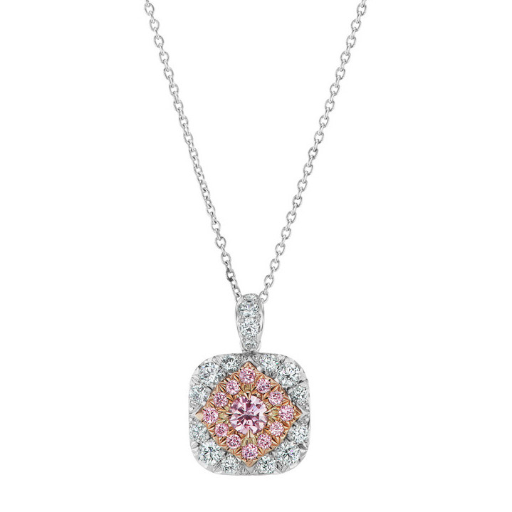 Pink & White Diamond Cluster Halo Pendant Necklace