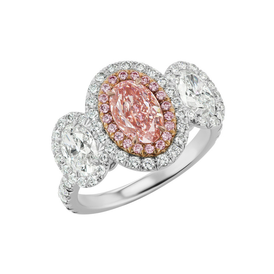 Oval Pink & White Diamond 3-Stone Halo Ring