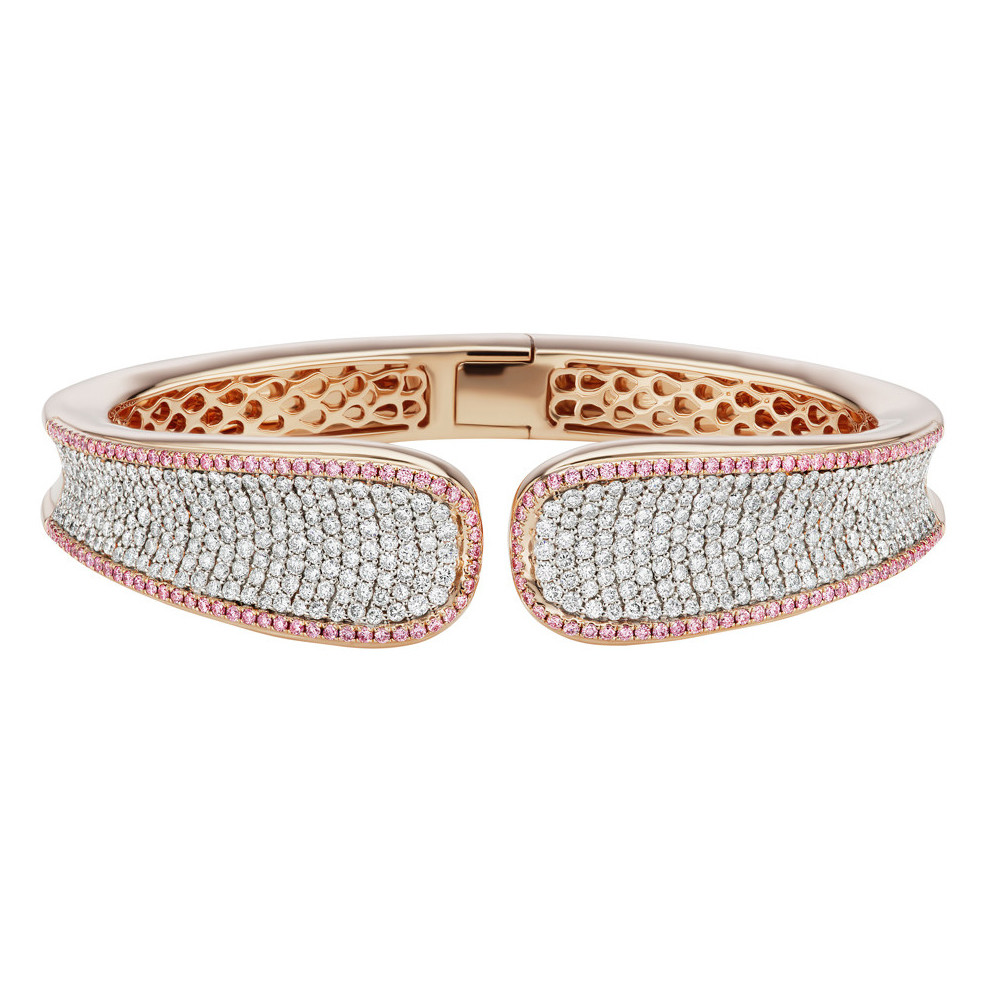 "White & Pink Diamond ""Saddle"" Cuff Bracelet"