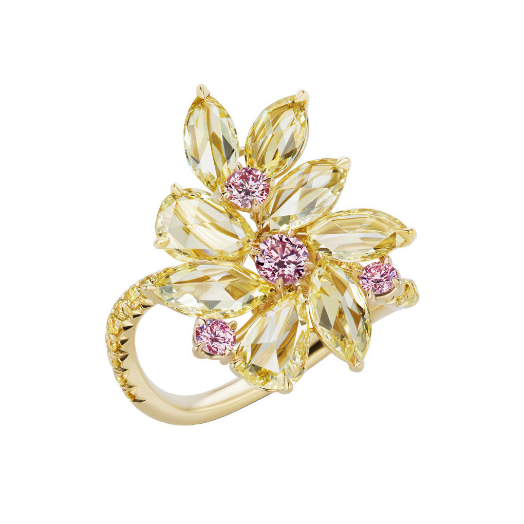Yellow & Pink Diamond Flower Ring