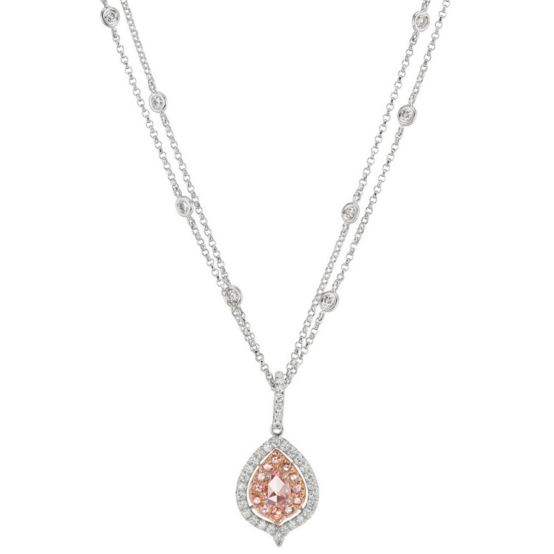 Rose-Cut Pink & White Diamond Pendant Necklace