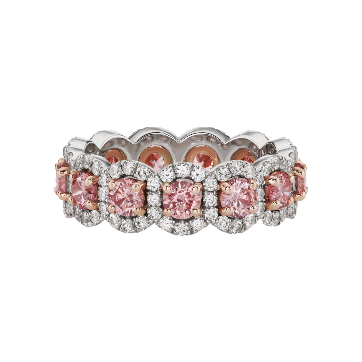 Pink & White Diamond Halo Eternity Band Ring