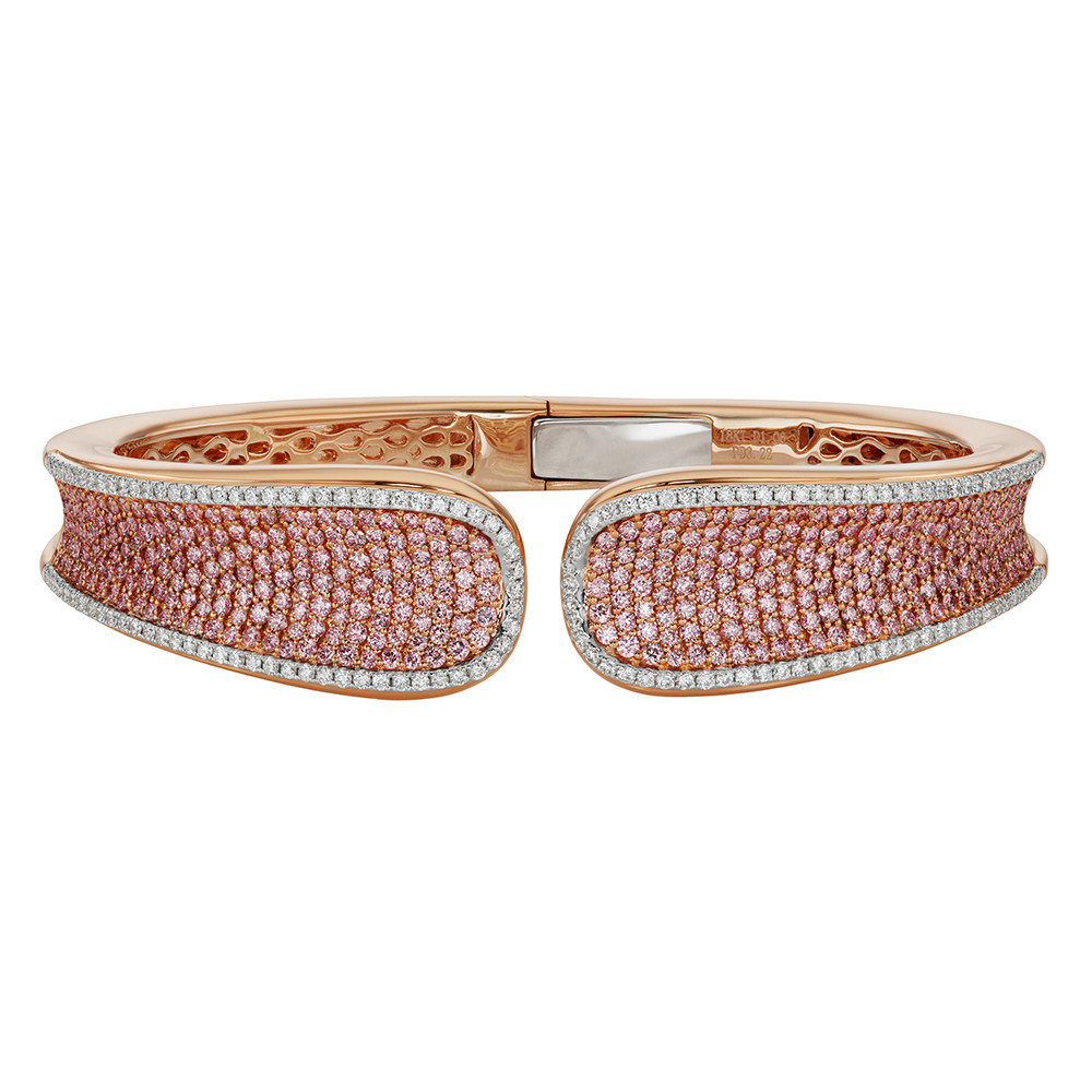 "Pink & White Diamond ""Saddle"" Cuff Bracelet"