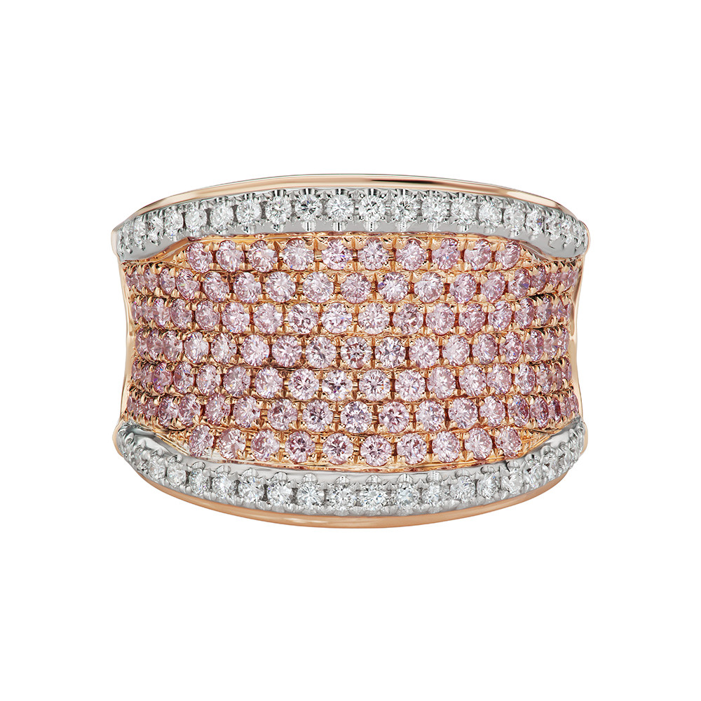 "Pink & White Diamond ""Saddle"" Ring"