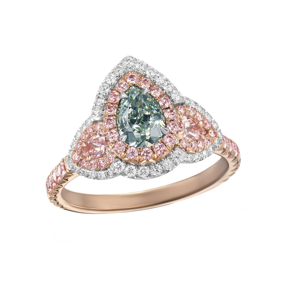 Green & Pink Diamond Three-Stone Ring