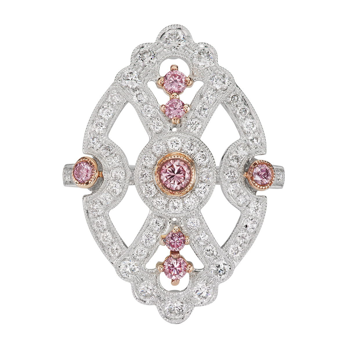 Pink & White Diamond Shield Ring
