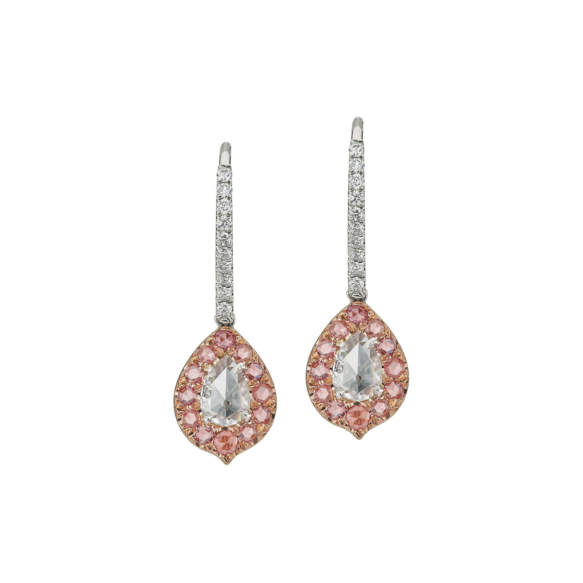 Rose-Cut White & Pink Diamond Drop Earrings