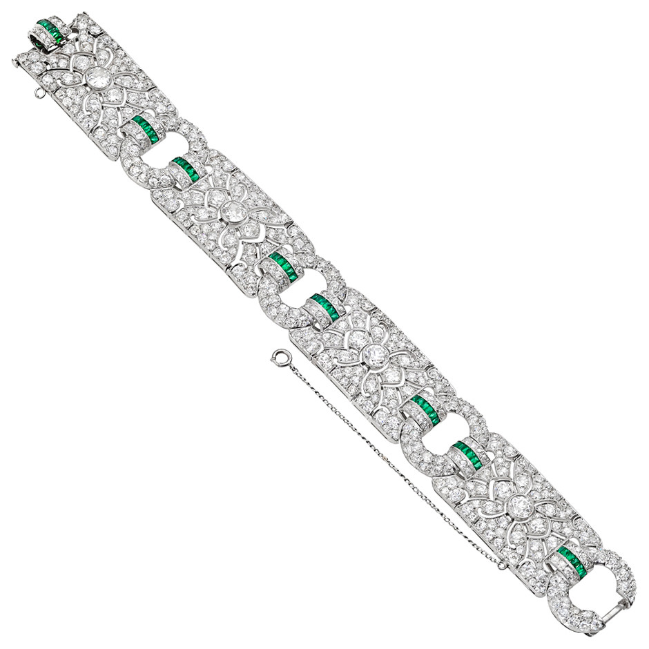 French Art Deco Diamond & Emerald Panel Bracelet