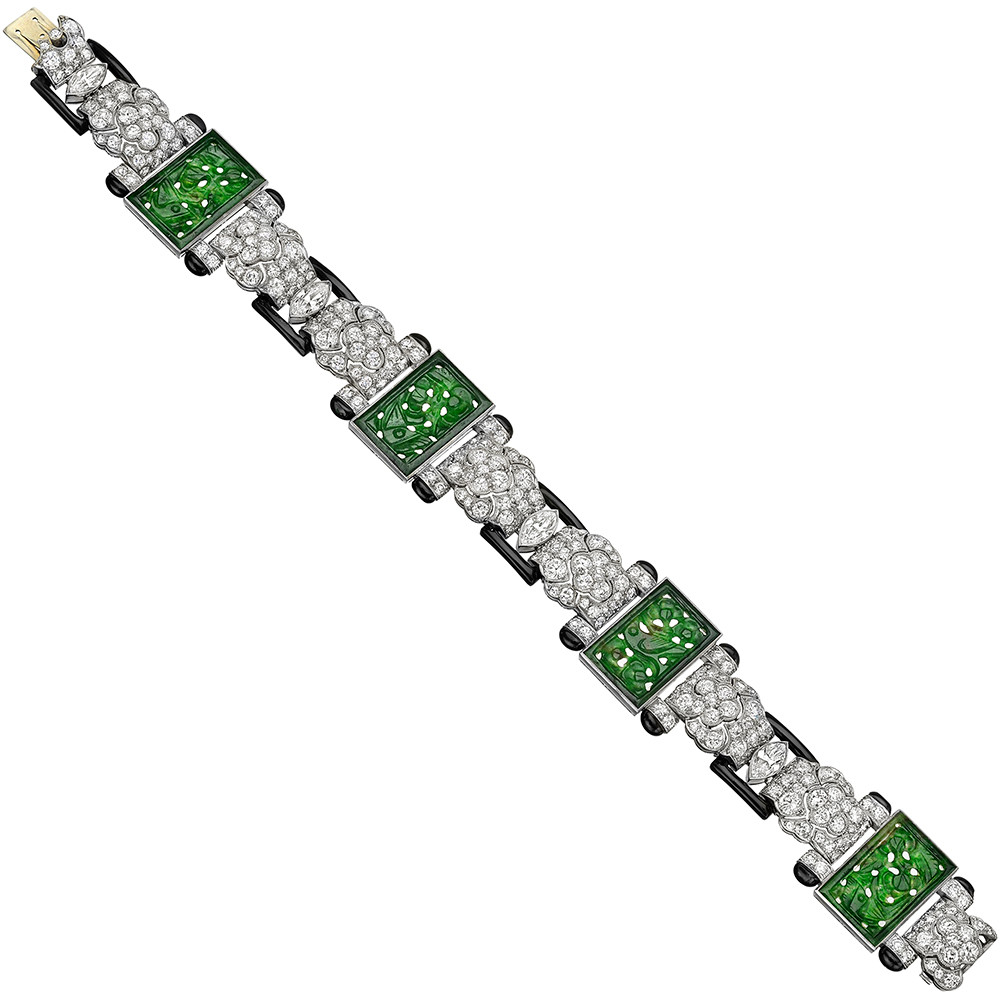 Art Deco Carved Jade & Diamond Panel Bracelet