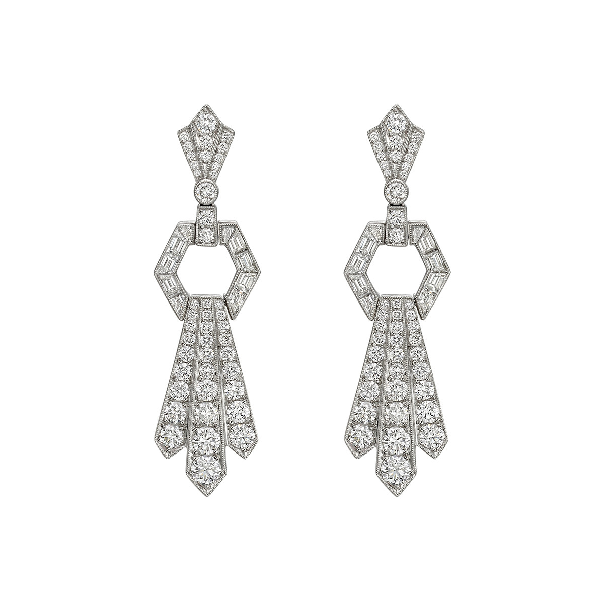 Diamond Door Knocker Drop Earrings