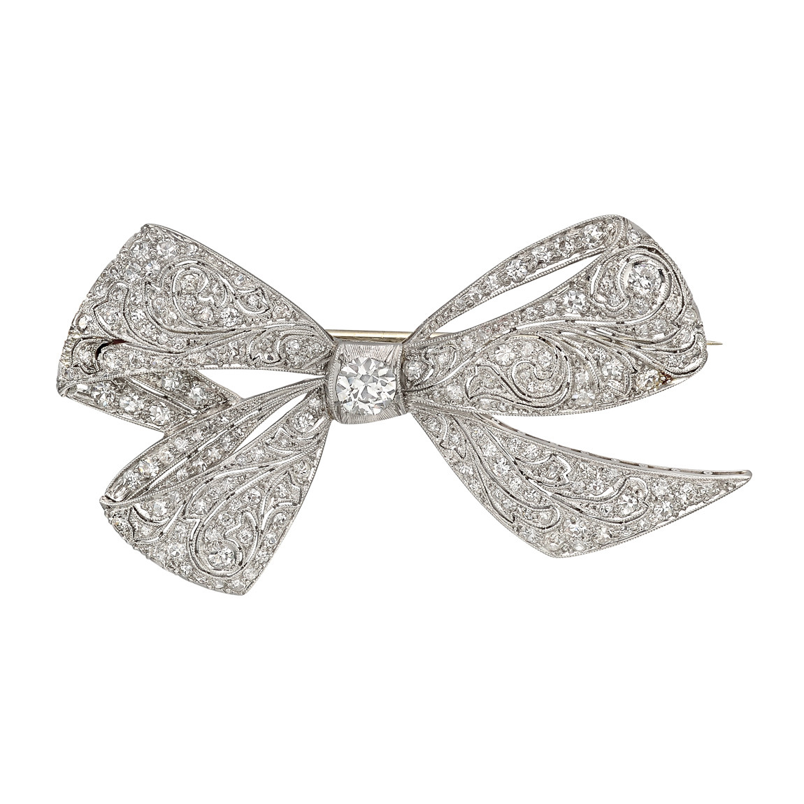 Art Deco Diamond Bow Pin