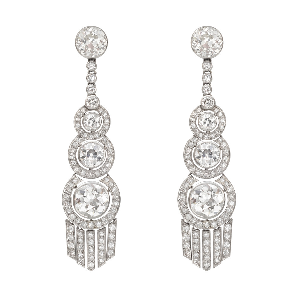 Art Deco Diamond Chandelier Earrings Set With Roximately 13 50 Total Carats Of Circular Cut Diamonds I J Color Vs1 I1 Clarity The Lowest Pair