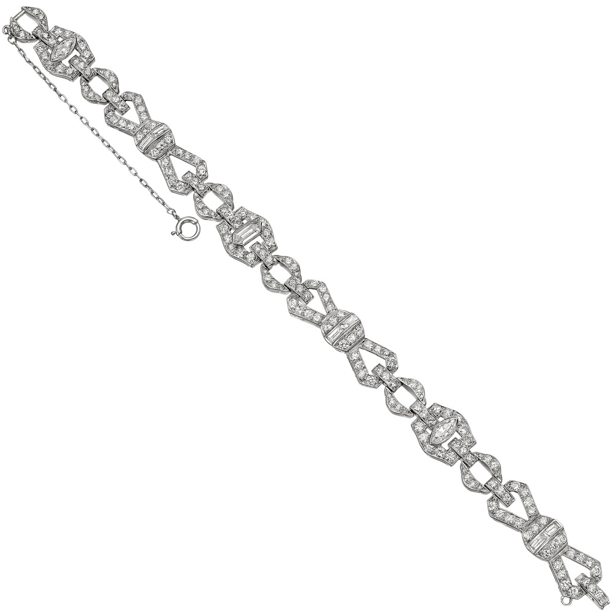 Art Deco Diamond Geometric Link Bracelet