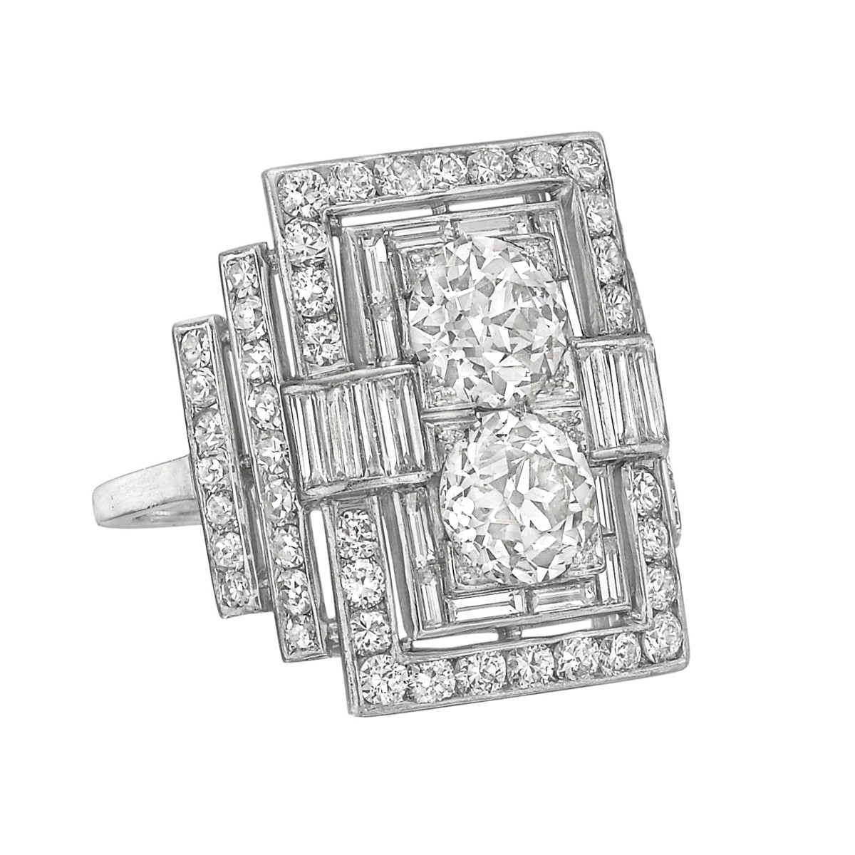 Art Deco Diamond Twin Ring