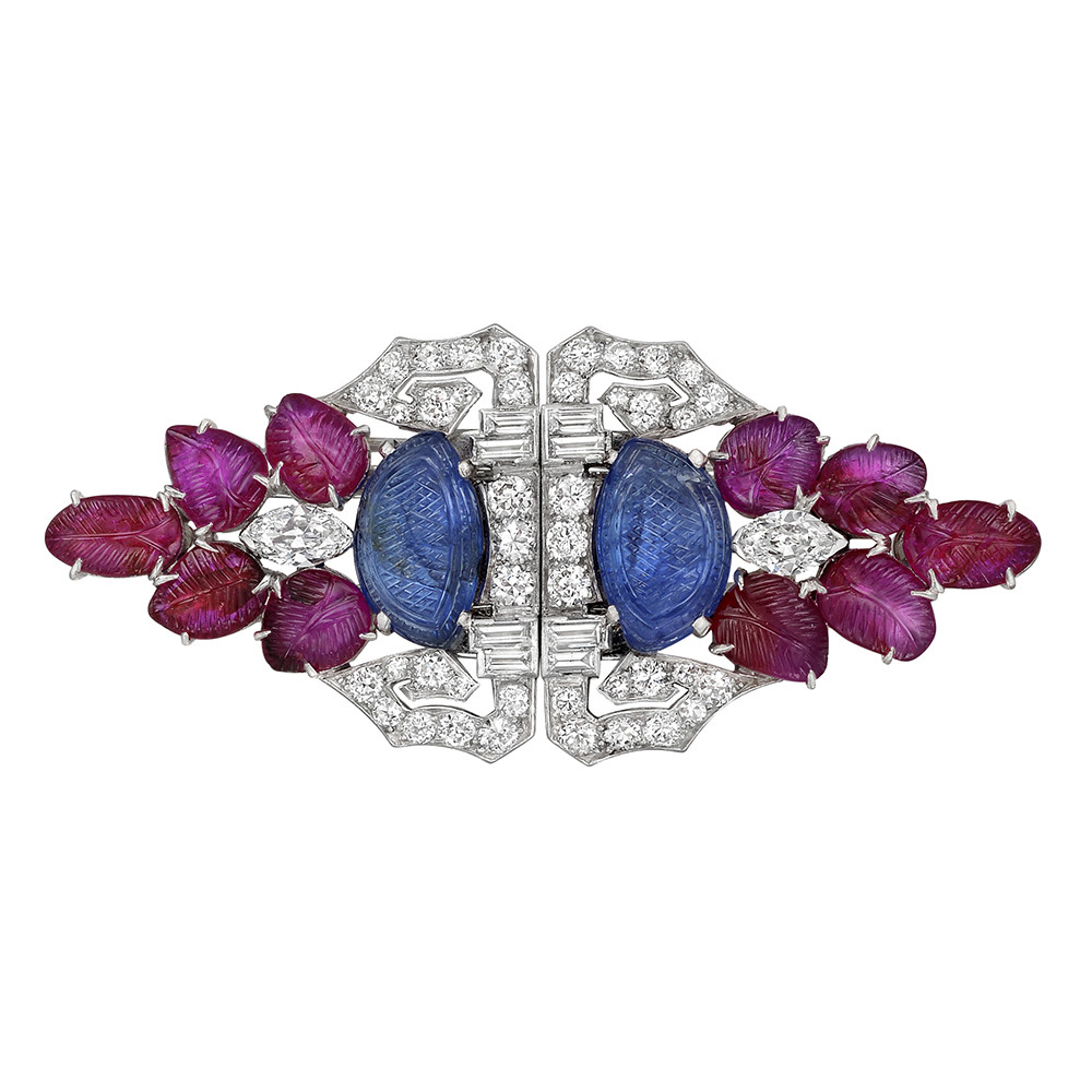 Art Deco Gem-Set 'Tutti Frutti' Clip Brooch