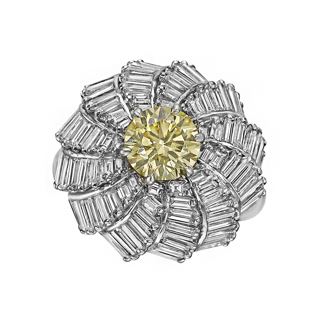 Fancy Yellow & Colorless Diamond Domed Ring