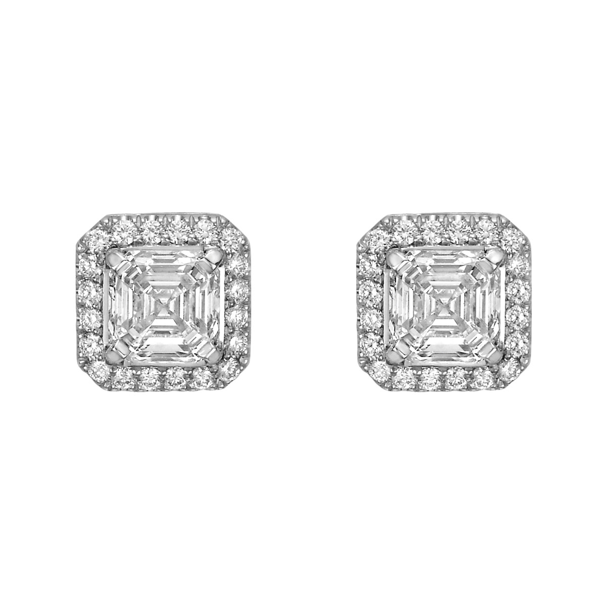 diamond cut ct halo earrings square stud betteridge emerald p tw asscher