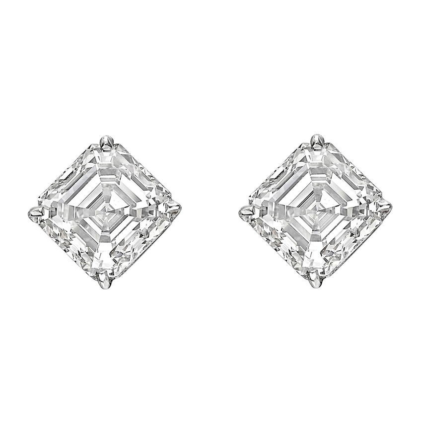 6.07tcw Square Emerald-Cut Diamond Stud Earrings (G/VVS)