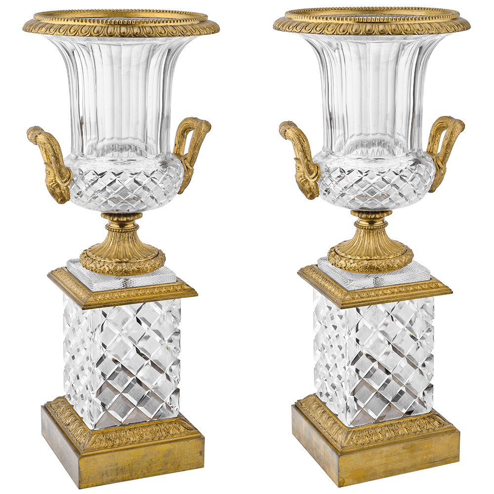 Pair of French-Cut Crystal & Dore Bronze Vases