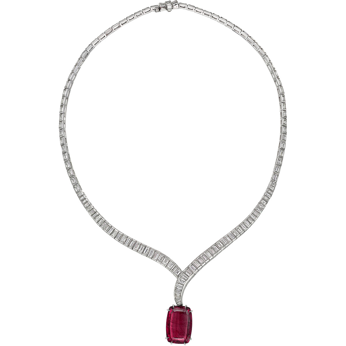 Diamond Crossover Necklace with Pink Tourmaline Drop