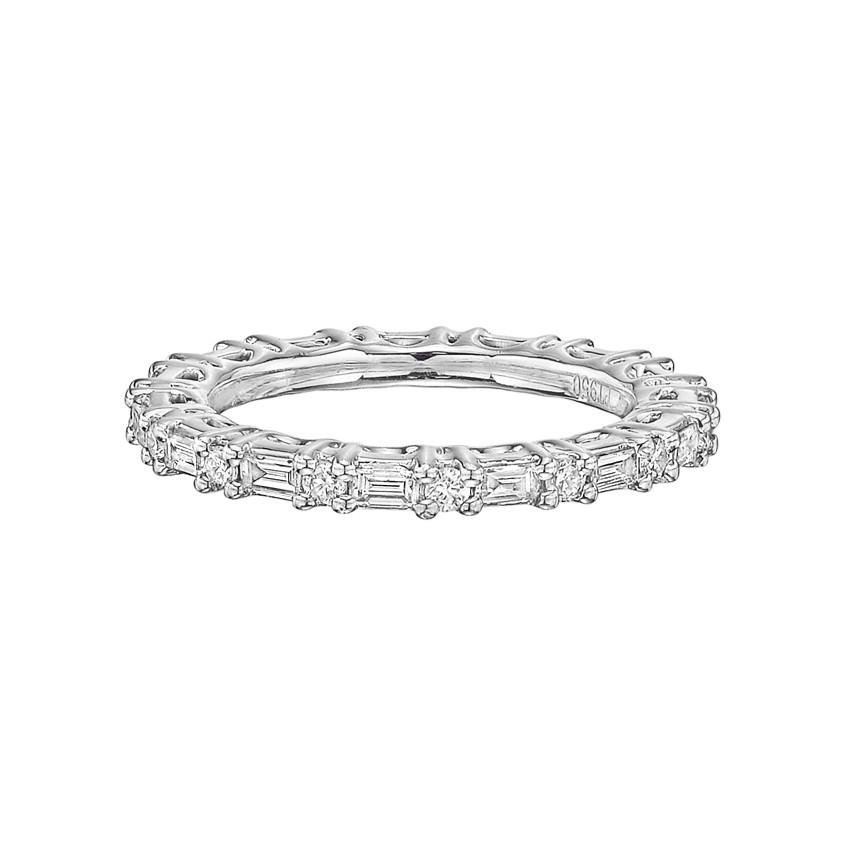 Baguette & Round Diamond Eternity Band (0.61 ct tw)