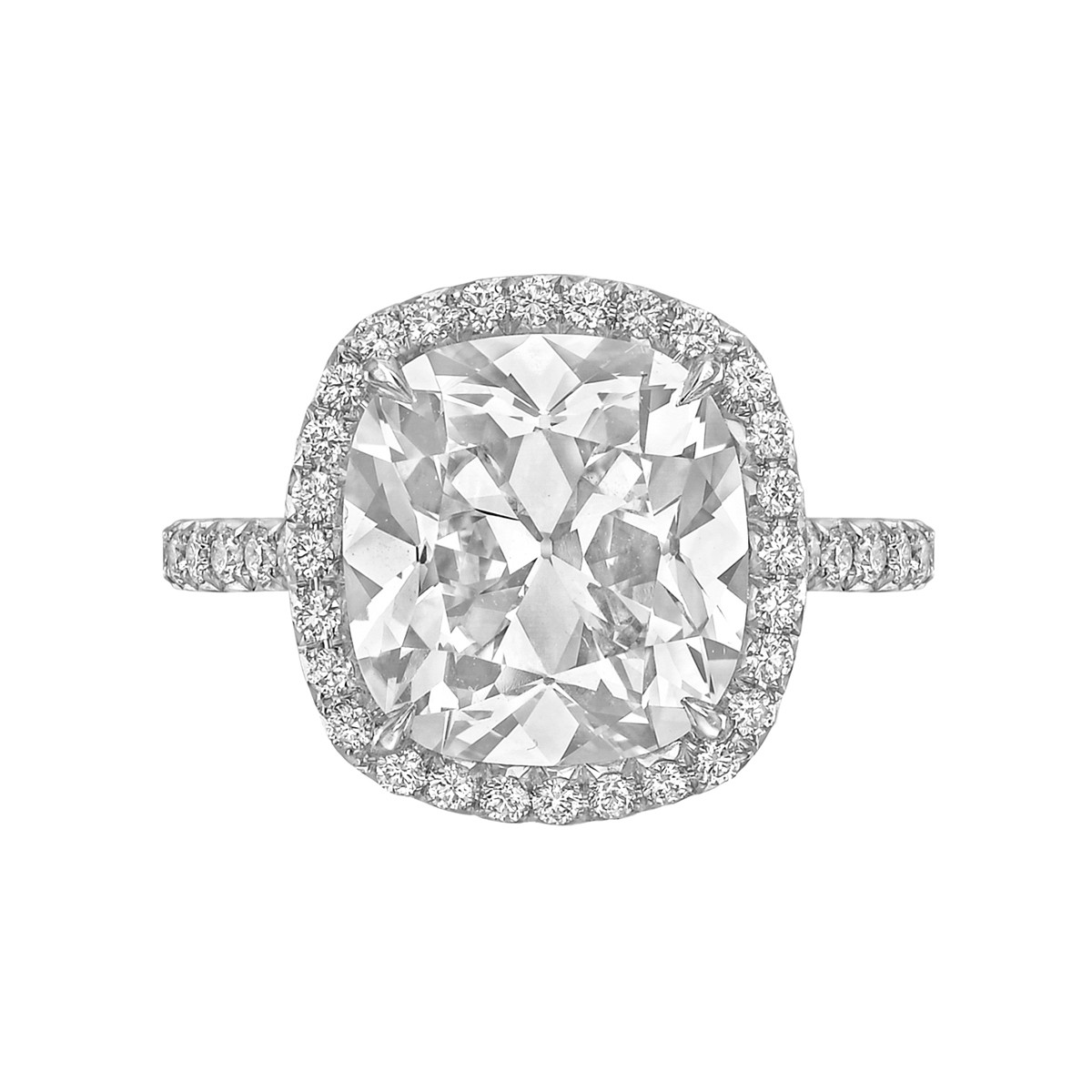 5.08ct Cushion-Cut Diamond Halo Ring