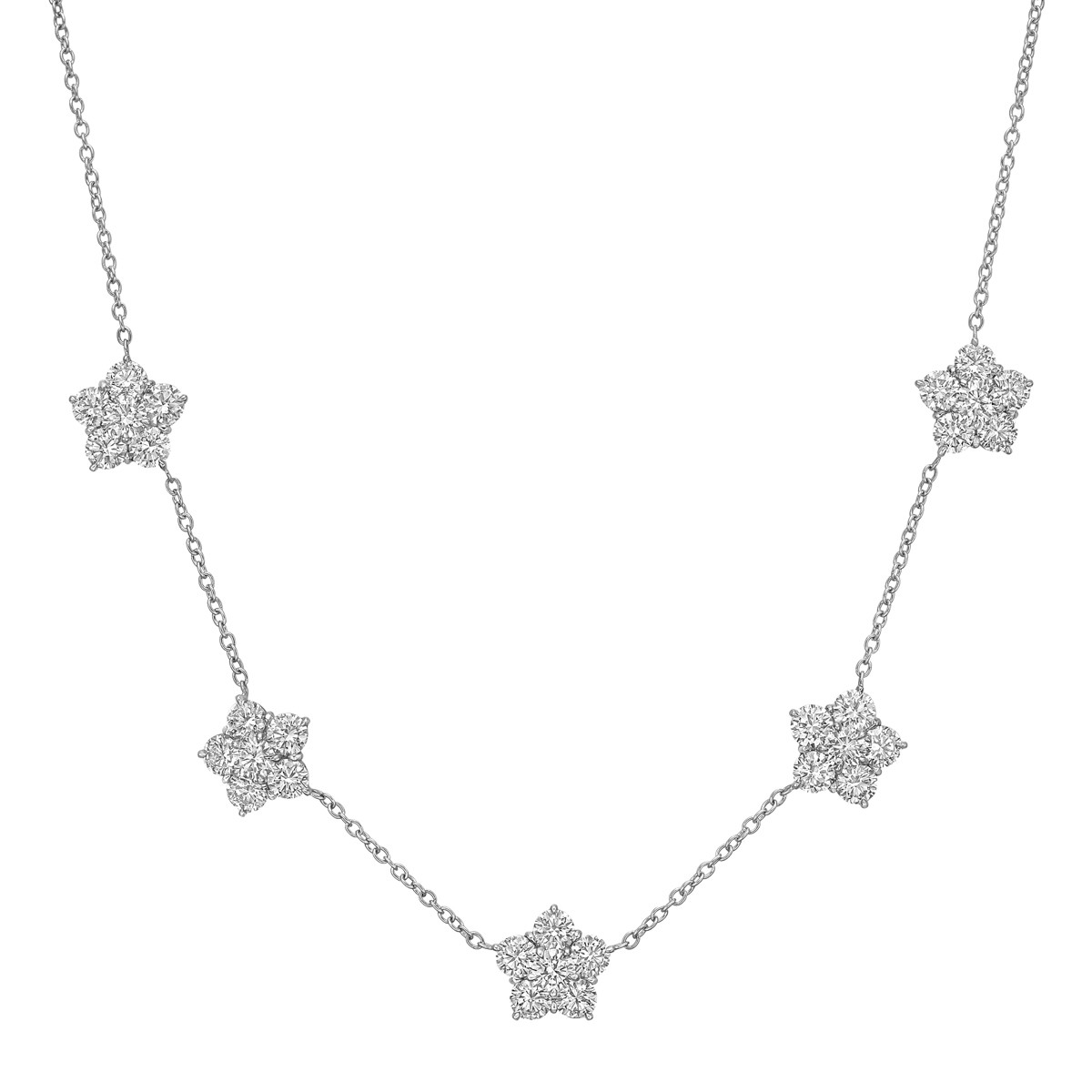 "Diamond ""Astra"" 5-Cluster Necklace"