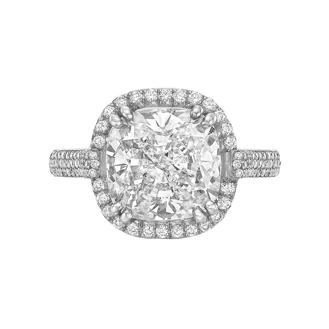 4.20ct Cushion-Cut Diamond Halo Ring