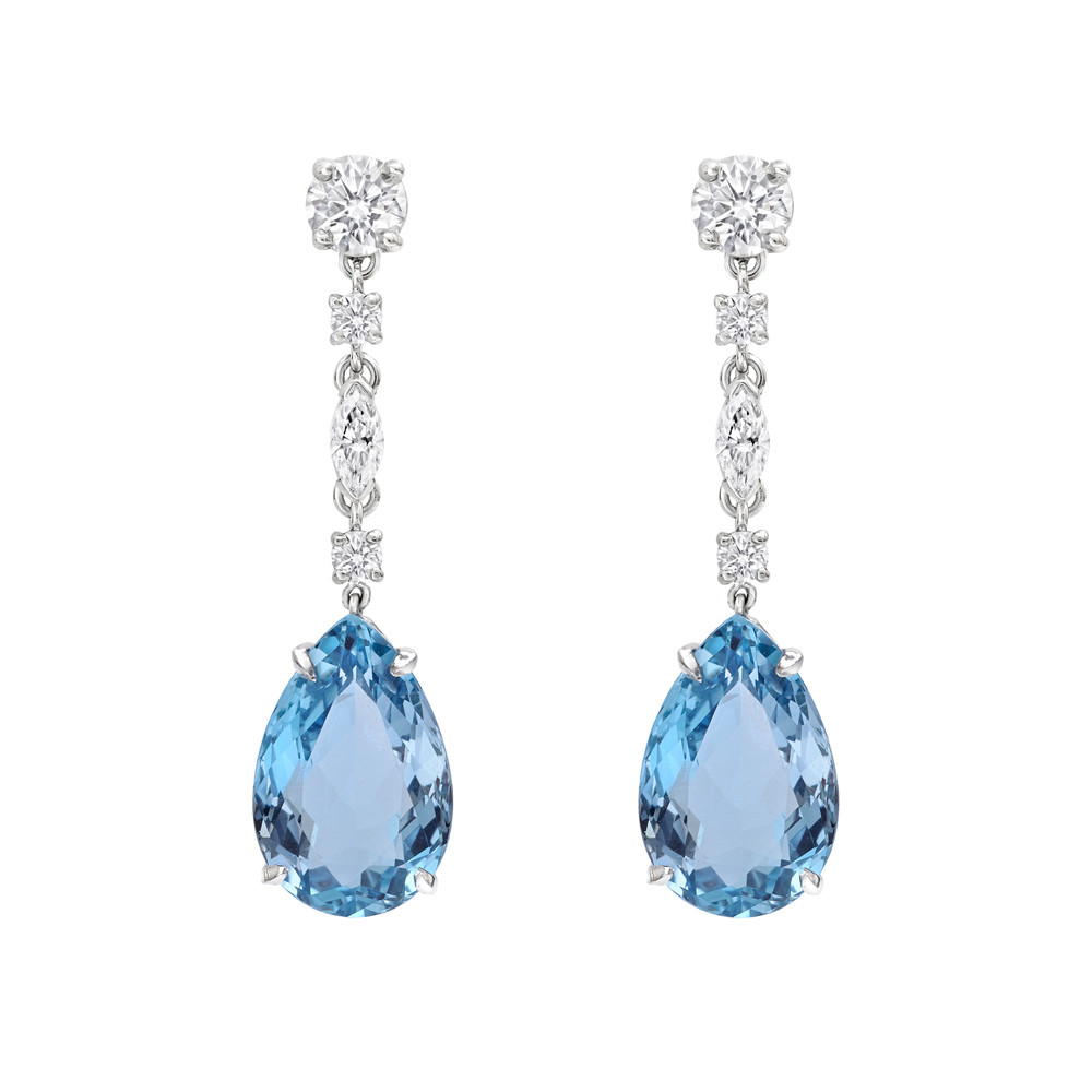 Pear Shaped Aquamarine Drop Earrings In Platinum With Marquise And Round Brilliant Cut Diamond Surmount Two Aquamarines Weighing 7 98 Total Carats