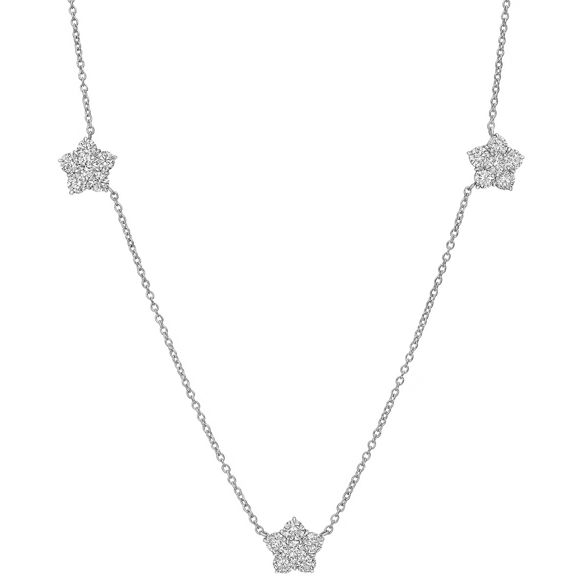 "Diamond ""Astra"" 3-Cluster Necklace (4.17tcw)"