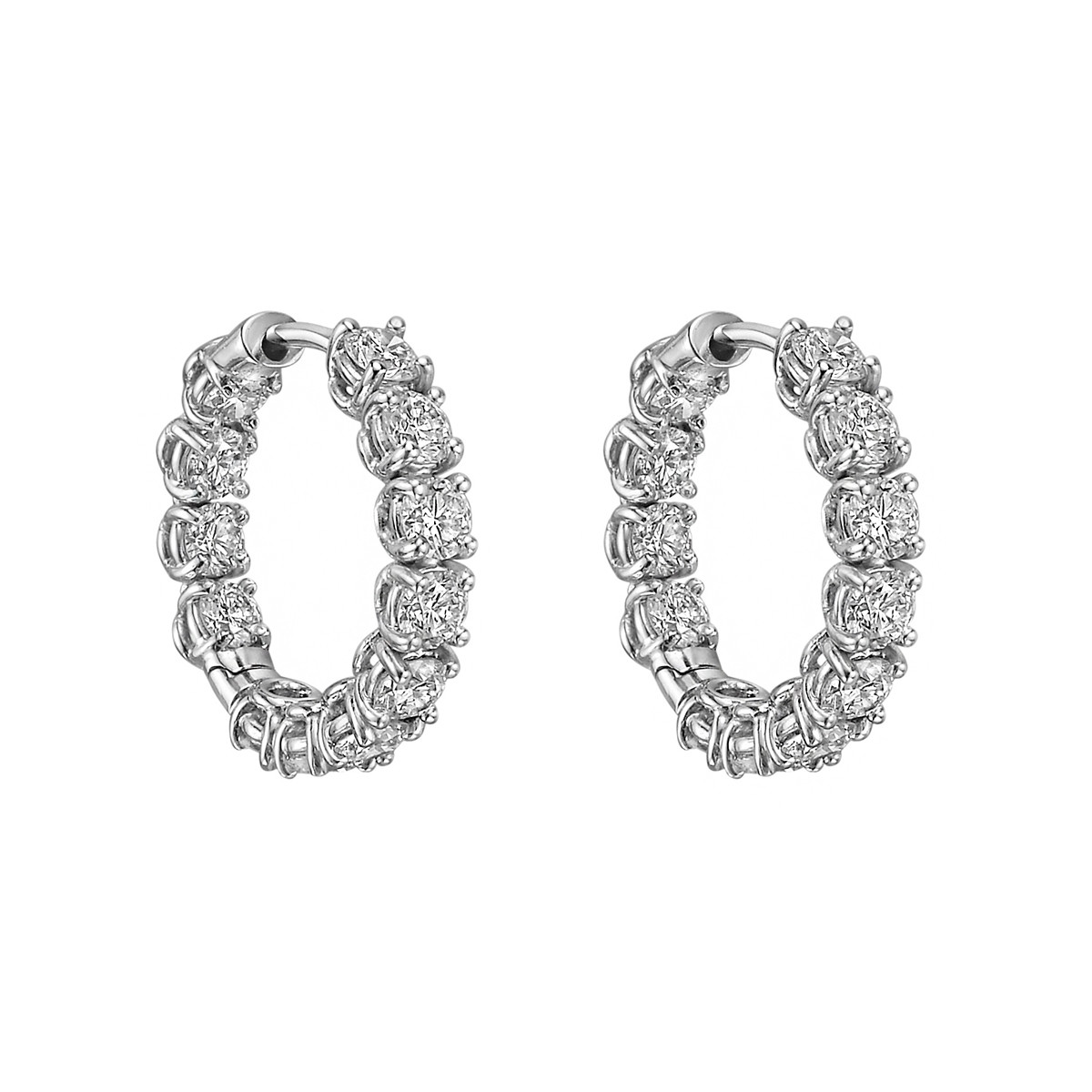 Small Diamond Hoop Earrings (1.98 ct tw)