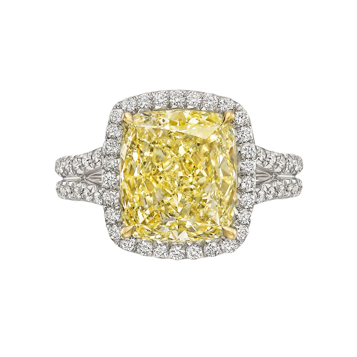4.57 Carat Fancy Yellow Diamond Ring