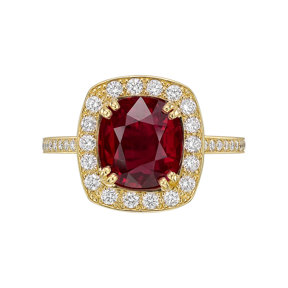 3.96 Carat Burmese Ruby & Diamond Ring