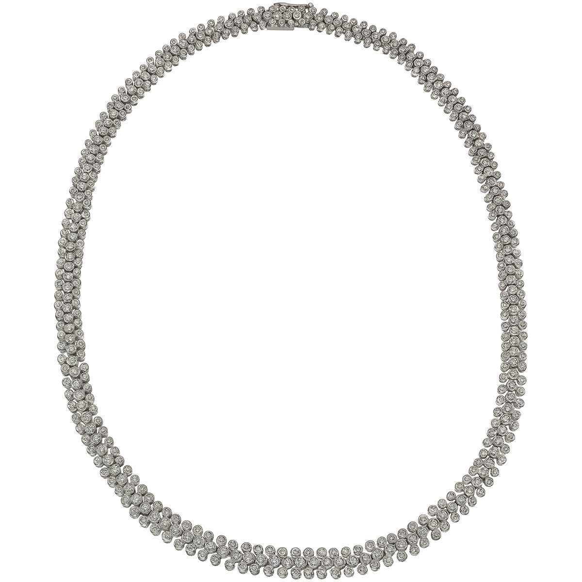 Bezel-Set Diamond 3-Row Necklace