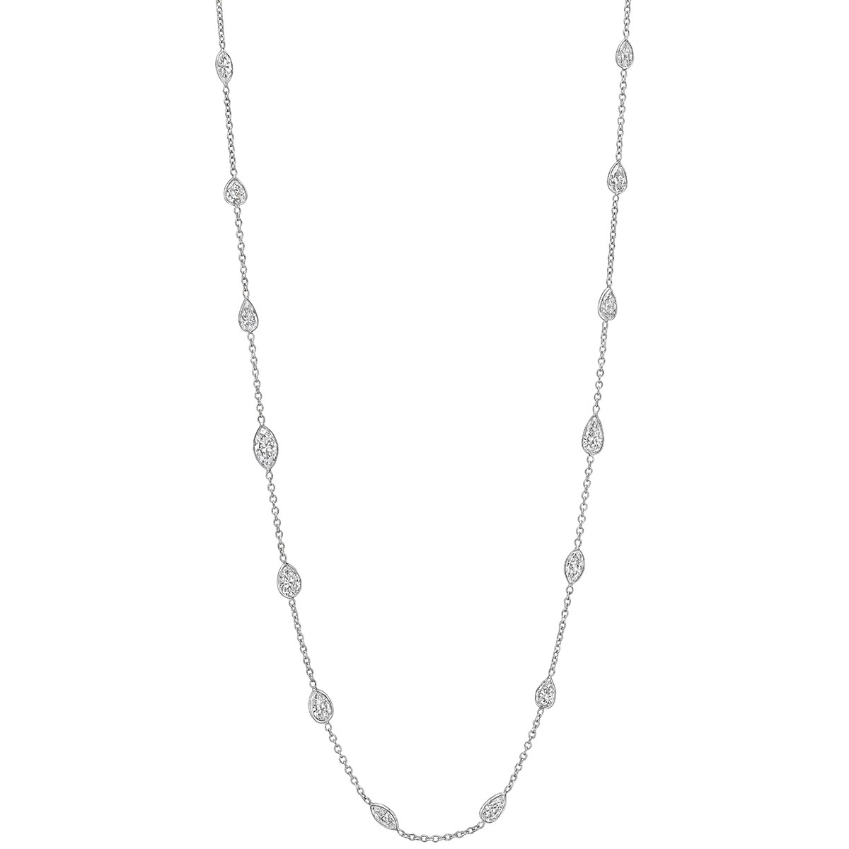 Pear & Marquise Diamond Chain Necklace (7.57ct tw)