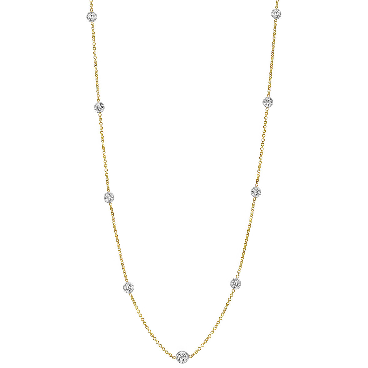 Bezel-Set Round Brilliant Diamond Chain Necklace