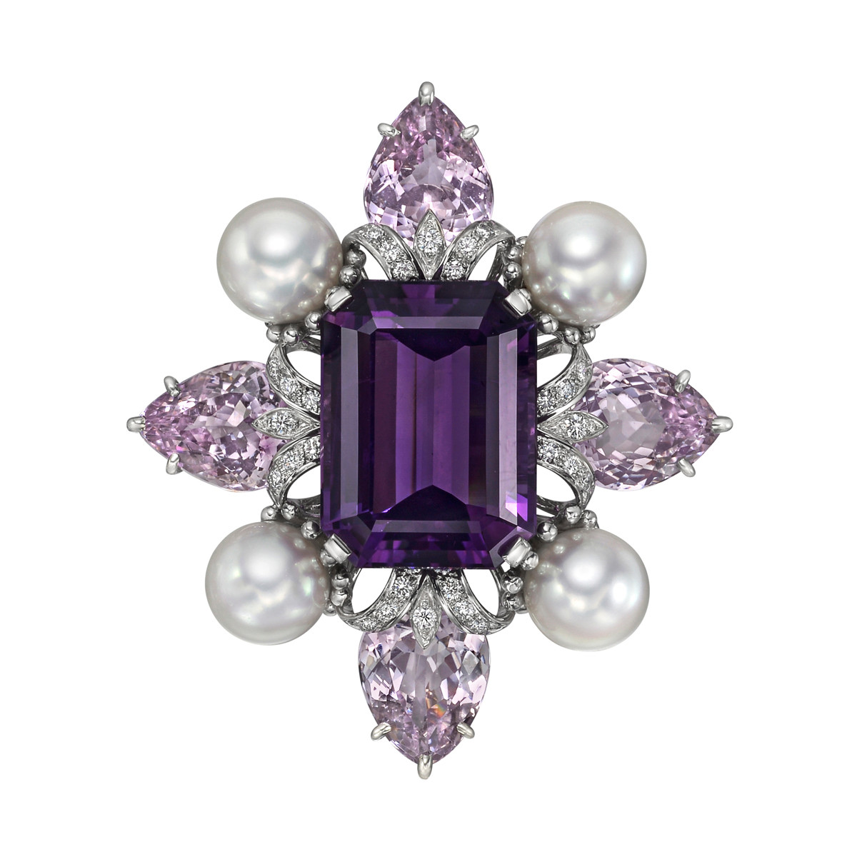 Amethyst & Kunzite Spray Brooch